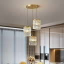 3-Light Dining Room Cluster Pendant Minimalist Gold Suspension Lamp with Cylindrical Crystal Shade
