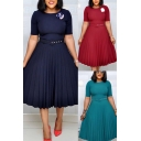 Simple Womens Dress Solid Color Short Sleeve Crew Neck Belted Midi Pleated A-line Dress