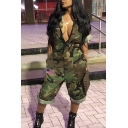 Cool Girls Jumpsuit Camo Pattern Short Sleeve Deep V-neck Relaxed Fit Jumpsuit