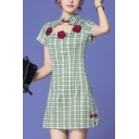 Womens Casual Cheongsam Dress Plaids Printed Roses Embroidery Side Split Frog Button Detailed Cut out Slim Fit Short Sleeve Mandarin Collar Mini Dress