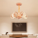 Rose Gold Twisted Pendant Lighting Mid Century Modern 5-LED Chandelier Light with Crystal Ball