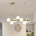 Sphere Shade LED Pendant Light Simplicity Glass Dining Room Hanging Island Light Fixture