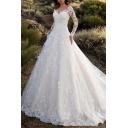 Amazing Womens Dress White Sheer Mesh Applique Embellished Long Sleeve V-neck Maxi A-line Dress