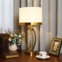 Classic Style Drum Shade Table Lamp Fabric Nightstand Lighting with Metal Base for Living Room