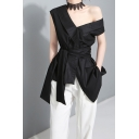 Chic Solid Color Shirt Cold Shoulder Asymmetric Ruffled Trim Tied Waist Regular Shirt Top for Women