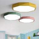 Ultra-Thin Geometric Ceiling Lighting Macaron Acrylic Bedroom LED Flush Mount Lamp