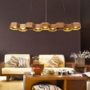 Brown Honeycomb Island Ceiling Light Contemporary 7-Bulb Wooden Pendant for Living Room