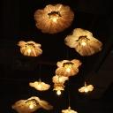 Antiqued Brass Lotus Pendant Lamp South-East Asia Metal 1-Light Restaurant Hanging Light