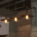 Matte Black Flared Island Light Fixture Industrial Iron Restaurant Hanging Lamp with Wire Cage