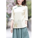 Womens Chinese Style Shirt Linen and Cotton 3/4 Sleeve Mandarin Collar Frog Button Relaxed Shirt in Beige