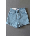 Casual Women's Shorts Solid Color Slant Pocket Zip Fly Rolled up Hem Mid Waist Shorts
