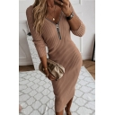 Trendy Women's Bodycon Dress Solid Color Ribbed Knit Zip Front Long Sleeve Slim Fitted Midi Bodycon Dress