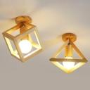 Geometric Cage Style Aisle Ceiling Lamp Wooden 1-Bulb Nordic Semi Flush Mount Light