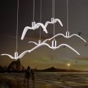 Decorative Seagull Suspension Lighting Resin Living Room LED Pendant Ceiling Light