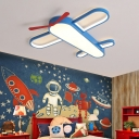 Simplicity Plane Shaped LED Ceiling Lamp Acrylic Boys Bedroom Flush Light Fixture in Blue