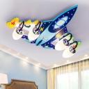 Wood Plane LED Flush Mount Light Modern Style Blue Ceiling Light Flush Mount with Blown Glass Shade