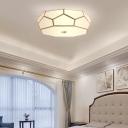 Geometric Bedroom Ceiling Flush Mount Simplicity White Glass Brass Flush Light Fixture