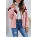 Casual Coat Sherpa Liner Contrasted Long Sleeve Stand Collar Zip Up Loose Fit Coat for Women
