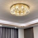 K9 Crystal Circle Flushmount Ceiling Lamp Contemporary Flush Mount Light Fixture for Living Room