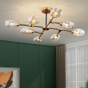 Tulip Branch Hanging Ceiling Light Postmodern Clear Dimpled Glass Restaurant Chandelier in Gold