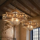 Turkish Cutout Palace Lantern Pendant 8 Lights Metallic Suspension Lamp in Bronze