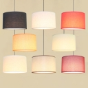 Cylinder Fabric Ceiling Hang Lamp Retro 1-Light Dining Room Pendant Light Fixture