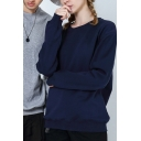 Guys Leisure T Shirt Plain Long Sleeve Crew Neck Relaxed Fit Tee Top