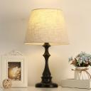 1-Bulb Nightstand Lighting Vintage Bedroom Night Table Light with Fabric Empire Shade