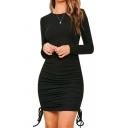 Womens Elegant Dress Solid Color Long Sleeve Crew Neck Drawstring Sides Mini Tight Dress in Black