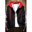 Mens Chic Jacket Wing Letter Printed Zip up Tape Regular Fit Long Sleeve Hooded Casual Jacket
