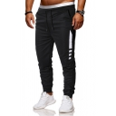 Men's Fashion Patched Drawcord Waist Fitted Black Sport Pants