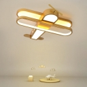 Biplane Shaped Led Flush Mount Fixture Kids Metal Bedroom Ceiling Lighting with Acrylic Shade
