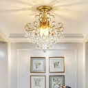 1-Bulb Scrolling Semi Flush Mount Retro Faceted Crystal Orbs Close to Ceiling Light for Aisle