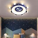 Childrens Rudder Flush Mount Lighting Metal Bedroom Ceiling Light with Anchor Pattern