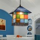 Antique House Suspension Light Single Stained Art Glass Pendant Light for Restaurant