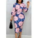 Gorgeous Womens Dress Allover Flower Printed Blouson Sleeve Crew Neck Belted Midi Tight Dress in Pink