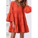 Pretty Casual Women's Bell Sleeve V-Neck Ruffled Trim Plain Short Swing Dress