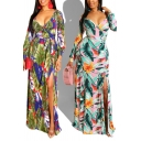 Casual Womens Slit Dress Leaf Floral Pattern Pleated Tie-waisted Long Sleeve Slim Fitted Surplice Neck Maxi Dress