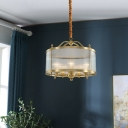 Gold Drum Shade Suspension Light Simplicity Ribbed Glass Dining Room Chandelier Light