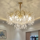 K9 Crystal Leaf Draping Chandelier Light Minimalism Living Room Pendant Light Fixture in Gold