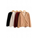 Casual Womens Coat Sherpa Long Sleeve V-neck Zipper Front Solid Color Relaxed Fit Coat