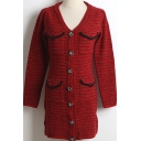Fashionable Womens Dress Tweed Long Sleeve V-neck Button Up Short Sheath Dress in Red