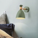Macaron Swivel Shade Small Wall Light Metal Single Bedside Reading Lamp with Wood Accent
