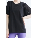 Chic Womens T-Shirt Quick Dry Mesh Patchwork Half Sleeve Round Neck Relaxed Fit Yoga Tee Top