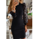 Unique Pretty Girls' Puff Sleeve Crew Neck Sequined Sheer Mesh Patched Plain Short Tight Dress for Party