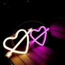 Decorative LED Battery Night Lamp White Love Heart and Arrow Shaped Table Light with Plastic Shade