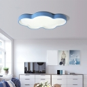 Simplicity Cloud Shaped Flush Mount Led Light Acrylic Living Room Ceiling Fixture in Blue