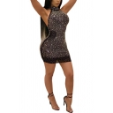 Womens Dress Creative Rhinestone Mesh Backless Mini Halter Neck Sleeveless Bodycon Dress