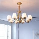 Brass Chandelier Light Minimalist White Glass Conical Suspended Lighting Fixture for Living Room