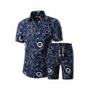 Trendy Mens Co-ords Allover Pattern Short Sleeve Turn down Collar Shirt Slim Fit Drawstring Waist Shorts Set